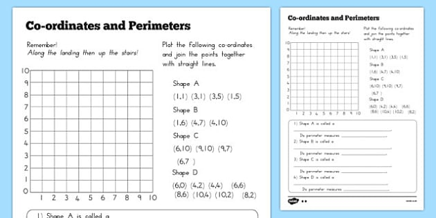 and Perimeter Worksheet - australia, coordinates