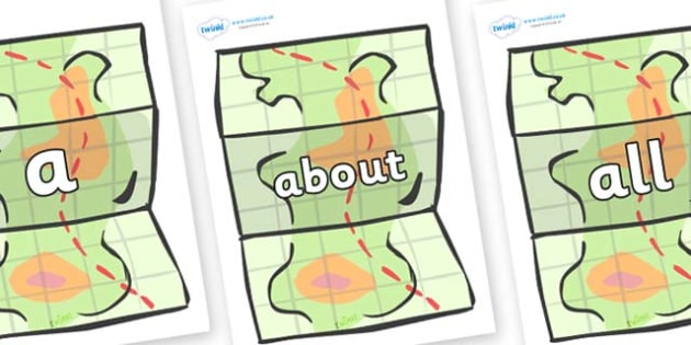 100 High Frequency Words on Maps - High frequency words, hfw, DfES Letters and Sounds, Letters and Sounds, display words