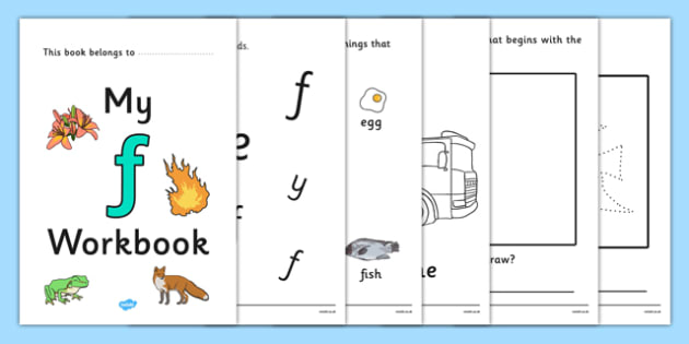 My Workbook f lowercase - workbook, f sound, lowercase, letters, alphabet, activity, handwriting, writing