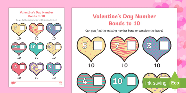 Valentine's Day Hearts Number Bonds to 10 Activity Sheet - Valentine's Day,  Feb 14th, love, cupid, hearts, valentine, number bonds, numbers to 10, number bon