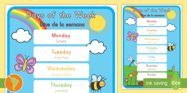 Days of the Week Display Poster - English/Spanish - Days of the Week Display