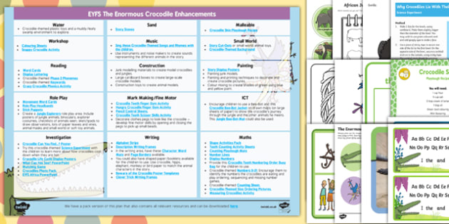 EYFS Enhancement Ideas and Resource Pack to Support Teaching on The Enormous Crocodile - Early Years, continuous provision, early years planning, adult led, The Enormous Crocodile, Roald Dahl, Africa, animals, planning