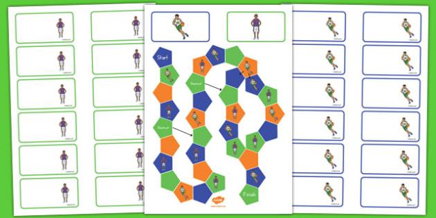Basketball Themed Editable Board Game - usa, basketball, nba, national basketball association, editable, board game