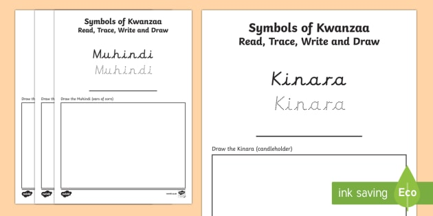 Symbols Of Kwanzaa Read Trace Write And Draw Worksheet