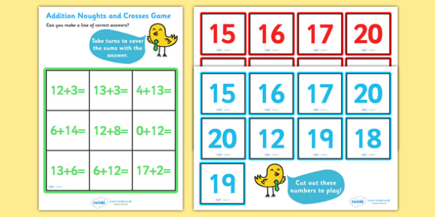 Addition Noughts and Crosses Activity (to 20) - Addition, math
