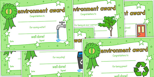 Environment certificates environemnt certificate award for Water efficiency certificate template
