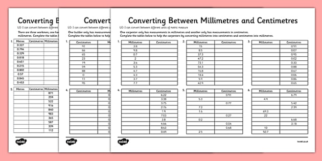 Converting Between Centimeters And Meters And Millimeters Worksheet
