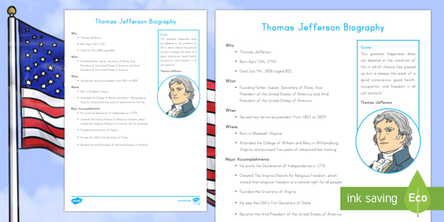 Thomas Jefferson Fast Facts Fact File - American Presidents, American History, Social Studies, Barack Obama, Lyndon B. Johnson, Franklin D.