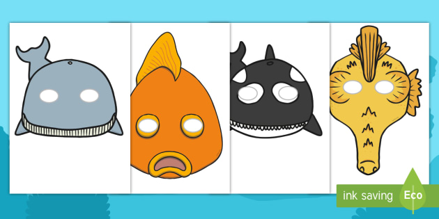 Under the Sea Role Play Masks - Under the sea, seaside, sea, animal, Role Play, mask, fish, octopus, sea, seaside, water, tide, fish, sea creatures, shark, whale, marine life, dolphin