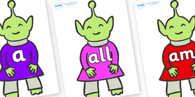 Foundation Stage 2 Keywords on Aliens - FS2, CLL, keywords, Communication language and literacy,  Display, Key words, high frequency words, foundation stage literacy, DfES Letters and Sounds, Letters and Sounds, spelling