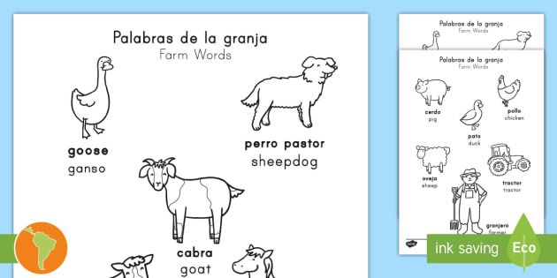 Farm Words Coloring Sheet English/Spanish - animals, words ...