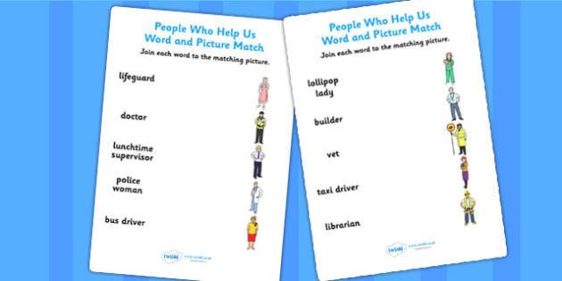 People Who Help Us Word and Picture Matching Worksheets - match