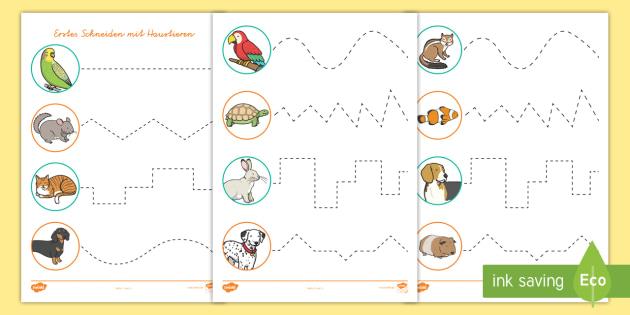 Erstes Schneiden mit Haustieren Arbeitsblatt-German - Haustiere