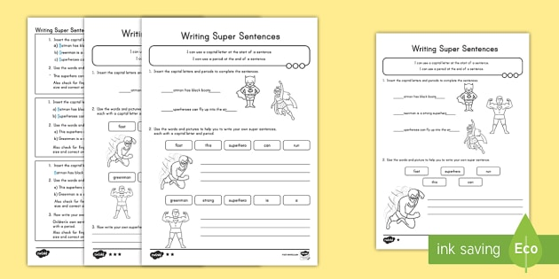 Writing Super Sentences Differentiated Practice Sheets