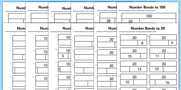 Bar Modelling Number Bonds Bumper Pack Differentiated Worksheet