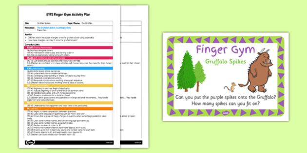 EYFS Gruffalo Spikes Finger Gym Activity Plan and Prompt Card Pack