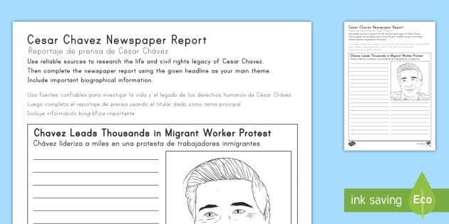 Cesar Chavez Newspaper Report Writing Worksheet / Activity Sheet