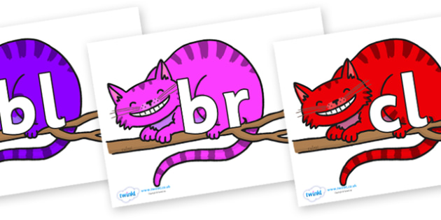 Initial Letter Blends on Cheshire Cats - Initial Letters, initial letter, letter blend, letter blends, consonant, consonants, digraph, trigraph, literacy, alphabet, letters, foundation stage literacy