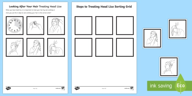 Looking After Your Hair Treating Head Lice Sequencing Worksheet / Activity Sheet - Special Educational Needs, Head Lice, Health and Hygiene, Life Skills, PSHCE, worksheet, Key Stage3,