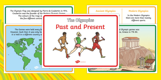 The Olympics Past And Present - Olympics, Olympic Games, past and present, history, history of the Olympics, past, present, sports, Olympic, London, images, editable, event, picture, 2012, activity, Olympic torch, medal, Olympic Rings, mascots, flame