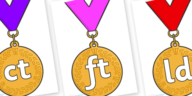 Final Letter Blends on Gold Medal - Final Letters, final letter, letter blend, letter blends, consonant, consonants, digraph, trigraph, literacy, alphabet, letters, foundation stage literacy