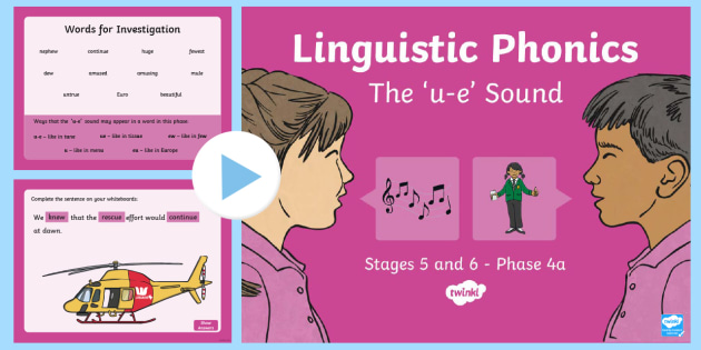 Northern Ireland Linguistic Phonics Stage 5 and 6 Phase 4a 'u-e' Sound PowerPoint - Linguistic Phonics, Stage 5, Stage 6, Phase 4a, Northern Ireland, 'u-e' sound, sound search, wor