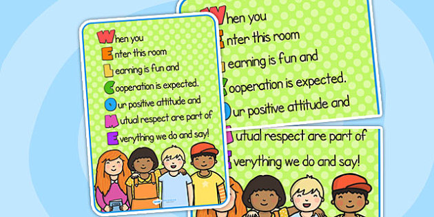 Welcome Acrostic Poster - acrostic, poster, welcome, display
