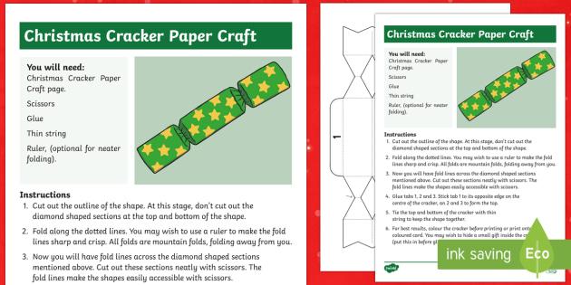 Christmas Cracker Template.Christmas Cracker Paper Craft Christmas Cracker Paper Craft