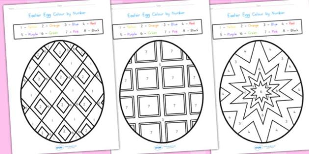 Easter Egg Colour By Number Sheets - easter, easter egg, colour