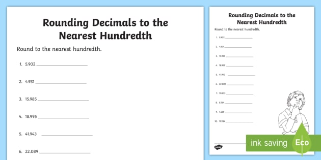 Rounding Decimals To The Nearest Hundredth Worksheet Activity