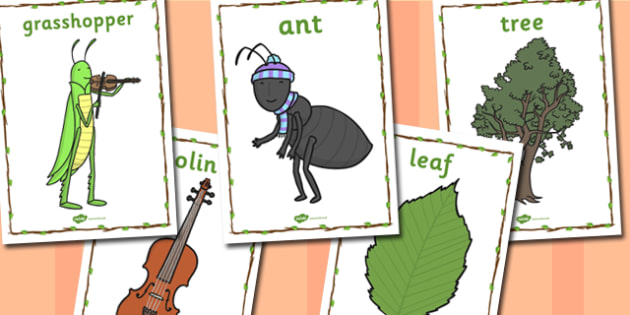 The Ant and the Grasshopper Word Display Posters - grasshopper