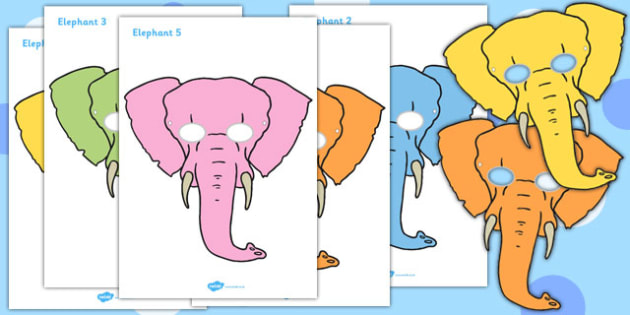 One Elephant Went Out to Play Role Play Masks - One Elephant Went Out to Play, nursery rhyme, rhyme, rhyming, nursery rhyme story, nursery rhymes, counting rhymes, addition, counting, one more than, role play mask, role play
