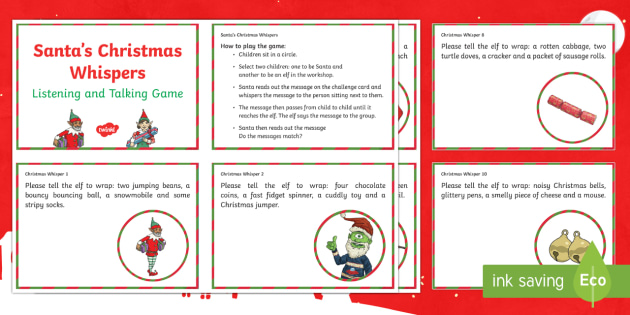 santa s christmas whispers game challenge cards talking