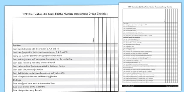 1999 Curriculum 3rd Class Maths Number Assessment Group Checklist - roi, gaeilge, maths, curriculum, 1999