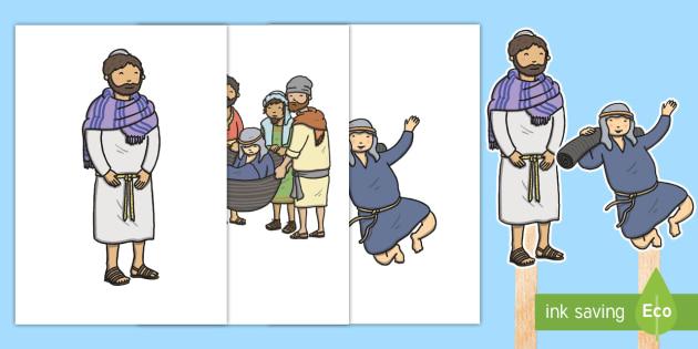 Jesus Heals A Paralyzed Man Stick Puppets - Miracles of Jesus, Heal, Paralyzed, Paralysed, New Testament, Story, Bible, Disciples, stick, puppet