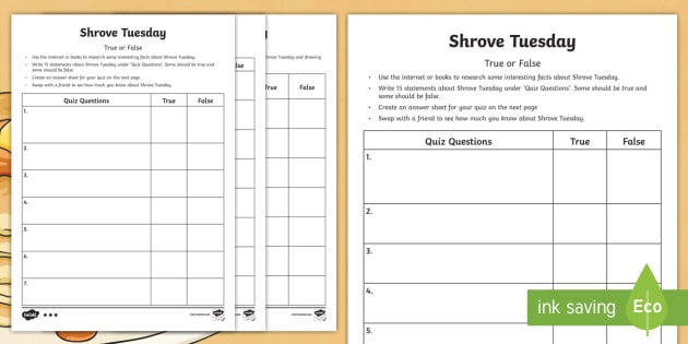 Shrove Tuesday True or False Quiz Template Worksheet / Activity