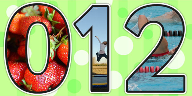Healthy Living Themed A4 Photo Display Numbers - health, healthy