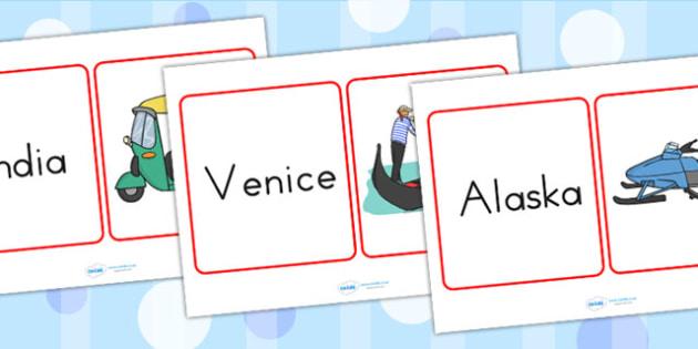 Transport Around the World Matching Cards - transport, matching