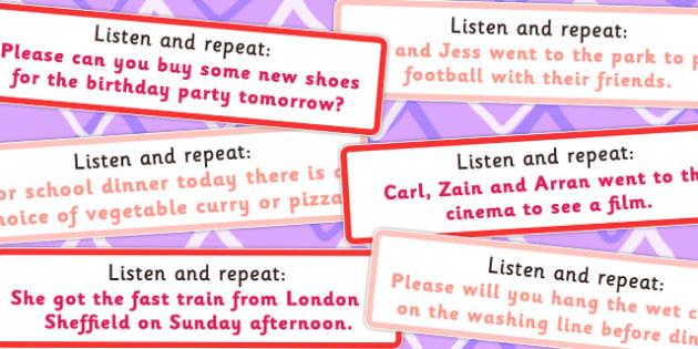 Listen And Repeat 12 13 Word Length Sentence Cards Set 2 - Listen