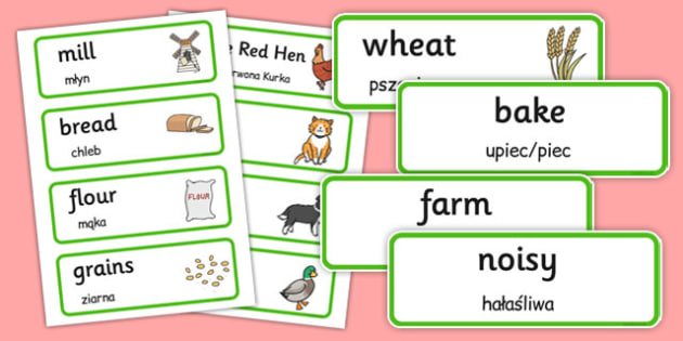 Little Red Hen Word Cards Polish Translation - polish, little red hen, word cards, word, cards
