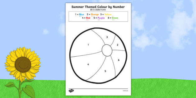 Summer Themed Colour by Number Chinese Mandarin Translation - seasons, counting aid, numbers, numbes, countng, couting, seaons, coloyur by number, nubers, coutning, summertime, Timw
