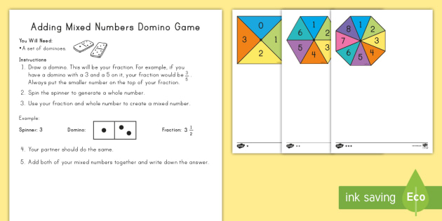 Adding Mixed Numbers Domino Game Mixed Numbers Adding Mixed