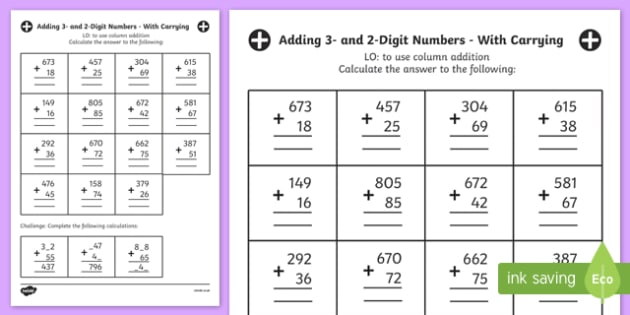 Free Adding 3 And 2 Digit Numbers In A Column Worksheet