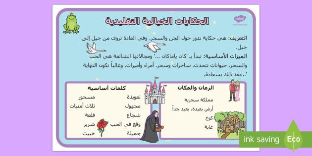 ملصق أساليب الحكايات الخيالية التقليدية  - أساليب، قصص، حكايات، قصص أطفال،الجن، خرافية، خيالية،