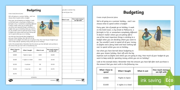 budgeting for a summer holiday money worksheet worksheet maths year 5. Black Bedroom Furniture Sets. Home Design Ideas