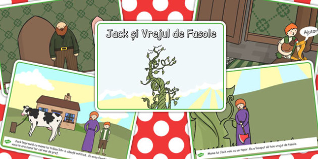 Jack si Vrejul de Fasole, lectura, rezumat cu imagini, imprimabile, Romanian