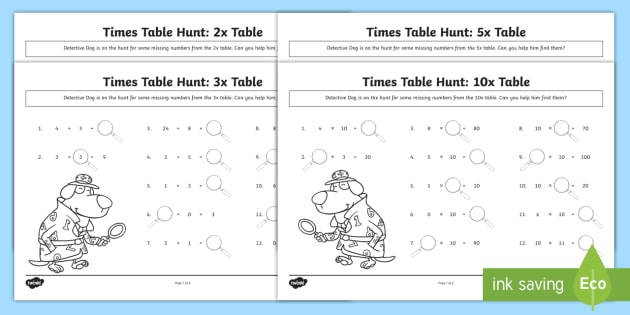 NEW * 2, 3, 5 and 10 Times Tables Missing Numbers Worksheet - KS1, maths