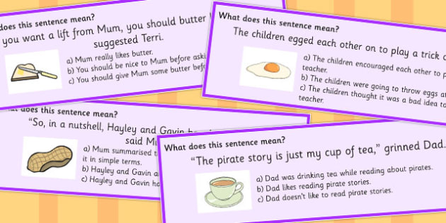 Food Idioms Sentence Cards Multiple Choice Set 2 - food, idiom, choice