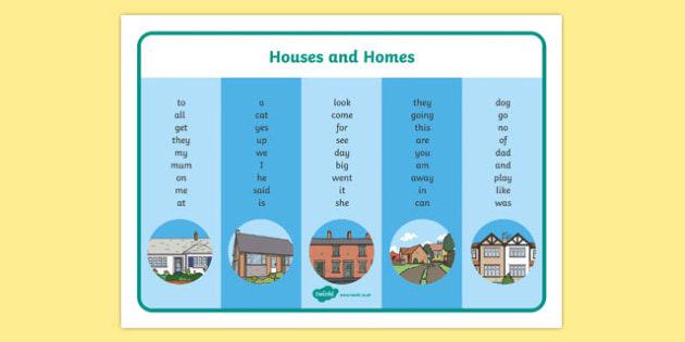 Houses and Homes Themed FS2 High Frequency Word Mat - house, home, FS2, visual aid