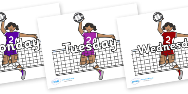Days of the Week on Volleyball Players - Days of the Week, Weeks poster, week, display, poster, frieze, Days, Day, Monday, Tuesday, Wednesday, Thursday, Friday, Saturday, Sunday
